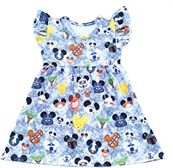 Summer Mickey Head Pattern Pearl Dress Summer Clothing Baby Kids Boutique Grey Dresses
