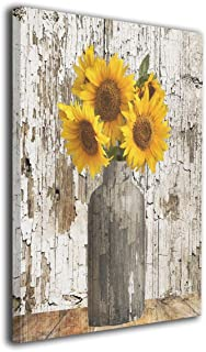 Hobson Reginald Canvas Wall Art Prints Rustic Floral Country Farmhouse Sunflower -Photo Paintings Contemporary Home Decoration Giclee Artwork-Wood Frame Gallery Stretched 16
