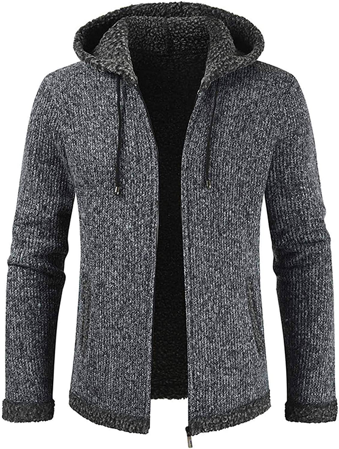 WUAI-Men Full Zip Hooded Cardigan Sweater Casual Knitted Warm Sweater Jacket with Pockets