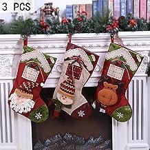 LLAAIT Decoraciones navideñas de año Nuevo para el hogar Medias navideñas Mini calcetín Bolsa de Regalo de Caramelo para niños Árbol de Navidad Colgar Decoración 1/3 / 4PCS, 3PCS N Grande, China