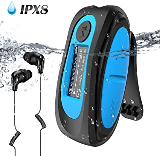 Swimming MP3 Player with Clip Screen, AGPTEK 8GB IPX8 Waterproof Music Player with Headphones for Running Sports, S07E Sup...