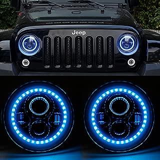 HOZAN 7inch Blue Halo Headlight with Hi/Low Beam DRL Ring for Jeep Wrangler JK JKU TJ CJ LJ Rubicon Sahara LED Headlight -2 Pack