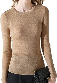 سترة نسائية برقبة دائرية بلون سادة قميص أساسي وأكمام طويلة بلوفر صوف سترة صوفية ، بني ، XL
