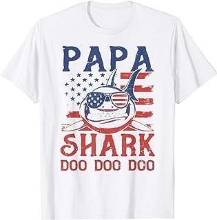 American Flag Papa Shark Doo Doo Doo 4th of July T-Shirt