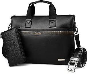 Men Briefcase Leather Man Purse Business Bag with Belt Wallet(BLACK)