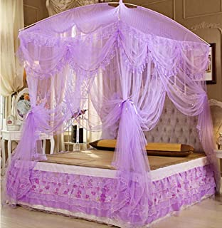 Nattey Princess Lace Canopies Mosquito Netting Canopy for Twin Full Queen King Bed Size (Purple)