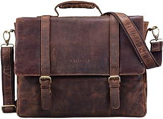 """STILORD Calvin"""" Businesstasche Leder Groß Aktentasche Herren Vintage Umhängetasche 15.6 Zoll Laptoptasche Trolley Aufsteckbar"""
