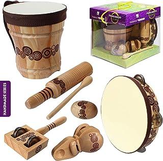 کیت موسیقی چوبی طبیعی Benelet برای کودکان و نوجوانان ، سازهای کوبه ای با طبل های بونگو برای کودکان ، آموزش موسیقی پیش دبستانی ، اسباب بازی های موسیقی کودک نو