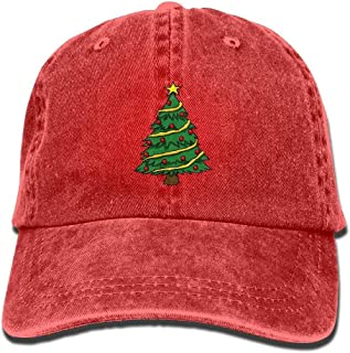 Yueha Men&Women Christmas Trees Classic Washed Dyed Cotton Solid Color Baseball Hat One Size