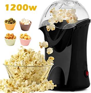 1200W Popcorn Maker, Popcorn Machine, Hot Air Popcorn Popper Healthy Machine No Oil Needed (Black)