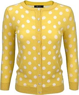 Women's Polka Dot Cute Jacquard Crewneck Button Down Sweater Cardigan