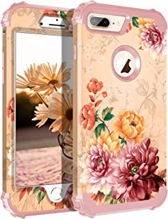 Lontect Compatible iPhone 8 Plus Case Floral 3 in 1 Heavy Duty Hybrid Sturdy Armor High Impact Shockproof Protective Cover Case for Apple iPhone 8 Plus/iPhone 7 Plus - Gold/Flower