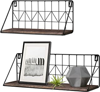 Mkono Set of 2 Wall Floating Shelves Rustic Modern Wood Wall Storage Shelves with Metal Wire Display Shelf for Bedroom Living Room Bathroom Kitchen Office, Brown