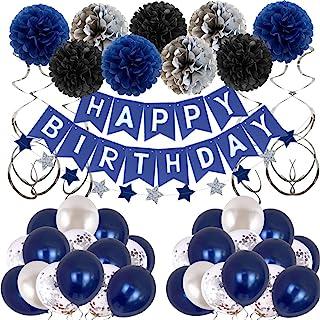 تزیینات جشن تولد مردان تزئینات جشن تولد آبی برای مردان زنانه پسران گریل ، بادکنک تولدت مبارک برای لباس دکوراسیون مهمانی برای شانزدهم بیستم 25 ام 30 ام 35