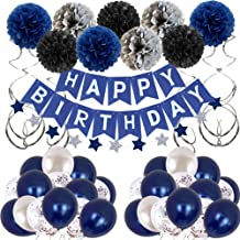 Birthday Decorations Men Blue Birthday Party Decorations for Men Women Boys Grils, Happy Birthday Balloons for Party Decor...