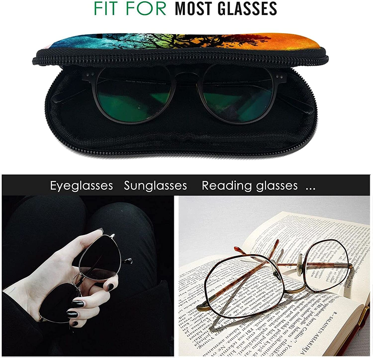 Sun and Moon Sunglasses Case Eyeglasses Soft Case With Hook Ultra Light Portable Neoprene Zipper Pouch Box for School Travel