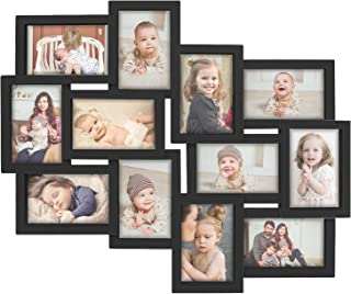 Hello Laura - Photo Frame 12 Open Sockets Picture Display Gallery Collection Designs Family Rules Dimensional Collage Black Picture Frame 6 4x6 & 6 4x4 Family Union Friends Classic Style Gift