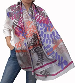 Women Silk Scarf Large Designer Floral Shawl in Gray, Coral Pink and Lilac Inspirational Gift, Stylish Luxurious Summer Collection