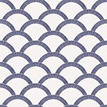 Tempaper Navy & Parchment Mosaic Scallop | Designer Removable Peel and Stick Wallpaper