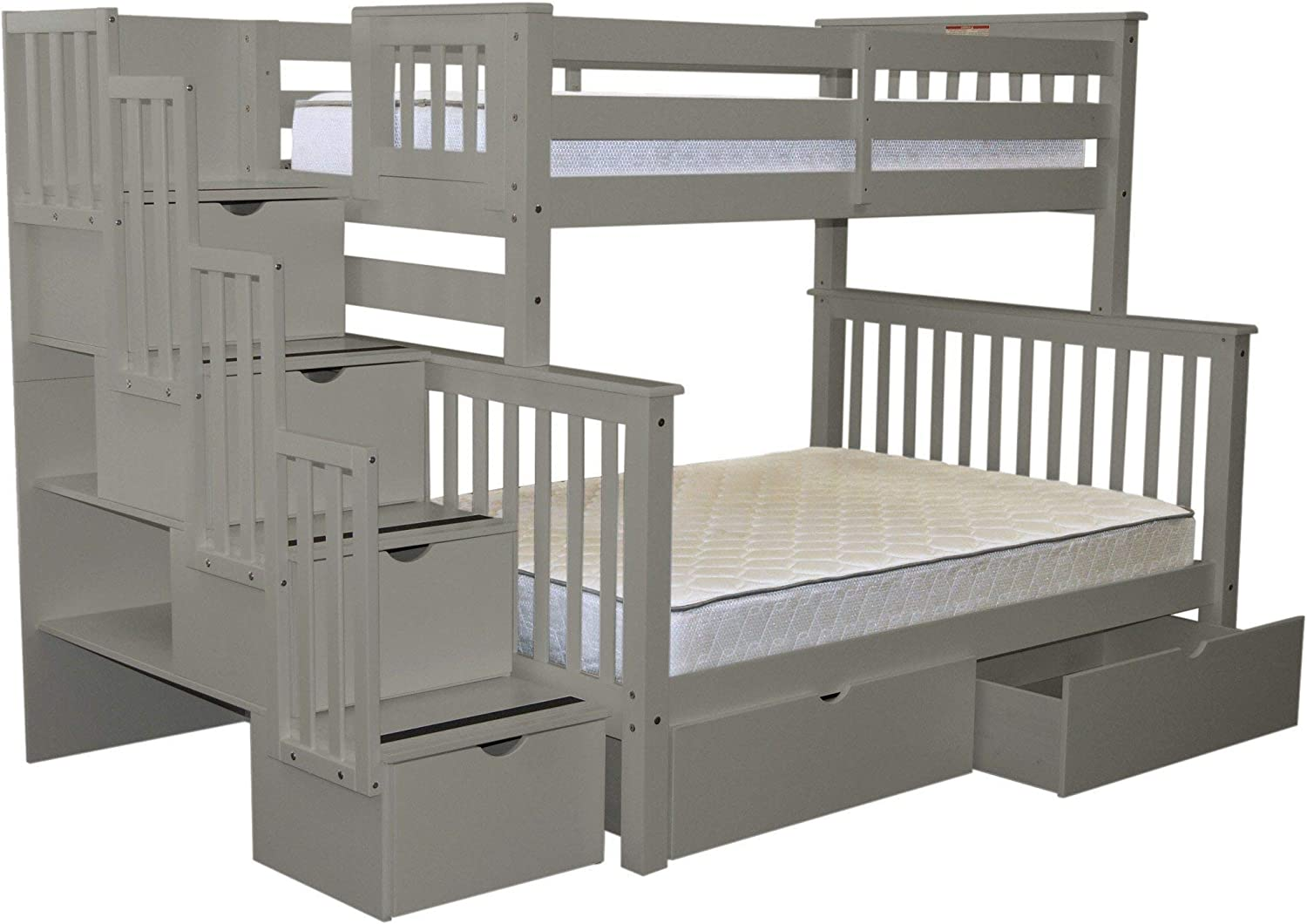 Buy Bedz King Stairway Bunk Beds Twin Over Full With 4 Drawers In The Steps And 2 Under Bed Drawers Gray Online In Vietnam B07nbqfc8v