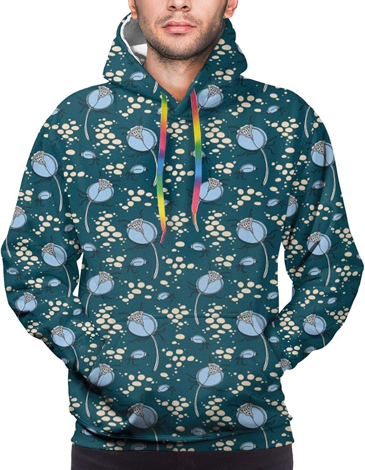TENJONE Men's Hoodies Sweatshirts,Abstract Botany Inspired Pattern with Dog-Rose Buds,Small