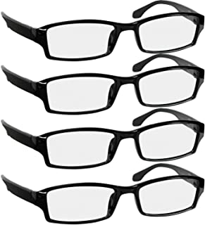Reading Glasses 2.0 | 4 Pack Black | Readers for Men & Women Spring Arms & Dura-Tight Screws | Always Have a Stylish Look and Crystal Clear Vision When You Need It
