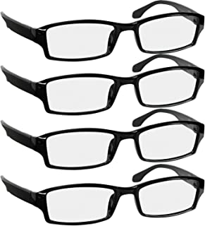 Reading Glasses 1.5 | 4 Pack Black | Readers for Men & Women Spring Arms & Dura-Tight Screws | Always Have a Stylish Look and Crystal Clear Vision When You Need It
