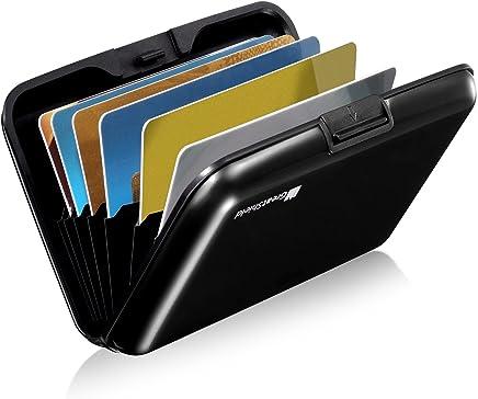 (Black (8 Slots)) - GreatShield RFID Blocking Wallet [8 Slots Aluminium] Identity Safe Protection Card Holder (Black)
