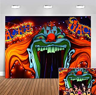 Evil Haunted House Horror Circus Background Photo Booth Studio Props Supplies Halloween Party Banner Scary Entrance Photography Backdrop Decorations 5x3ft Vinyl Creepy Giant Clown Birthday Decor