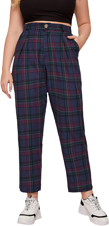 WDIRARA Women's Plaid Elastic Mid Waist Stretch Skinny Pants Tartan Leggings