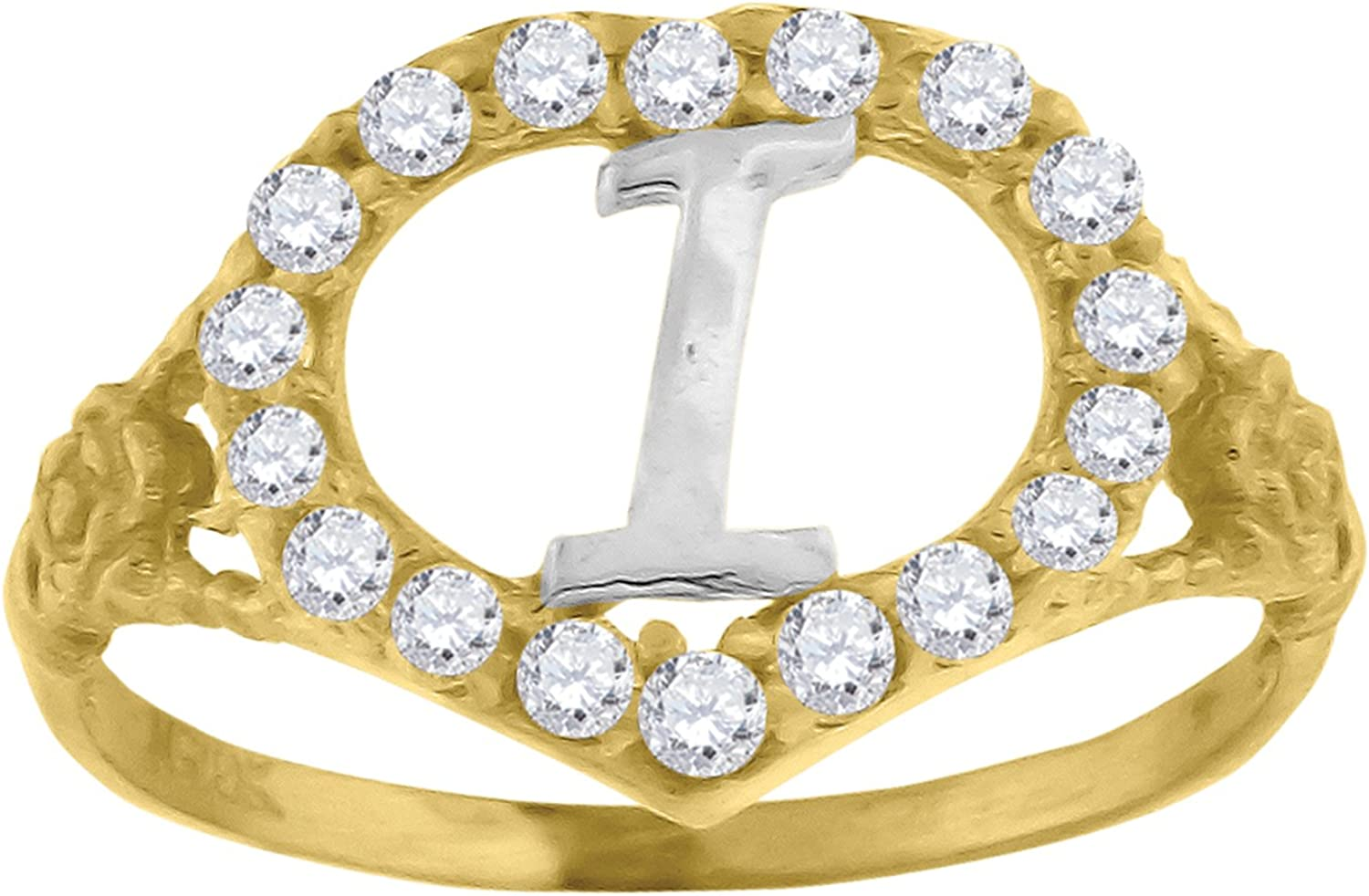 10kt TwoTone gold Womens Round Cubic Zirconia CZ Letter I Fashion Ring