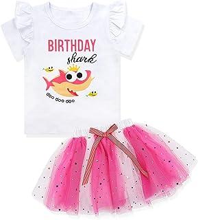 Baby Girls Birthday Shark and Doo Doo Doo T-Shirt + Tutu Dress 3rd Birthday Outfit Set 3 T