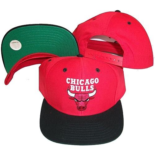 Chicago Bulls Red Black Two Tone Snapback Adjustable Plastic Snap Back Hat    Cap 7f0d9368277e