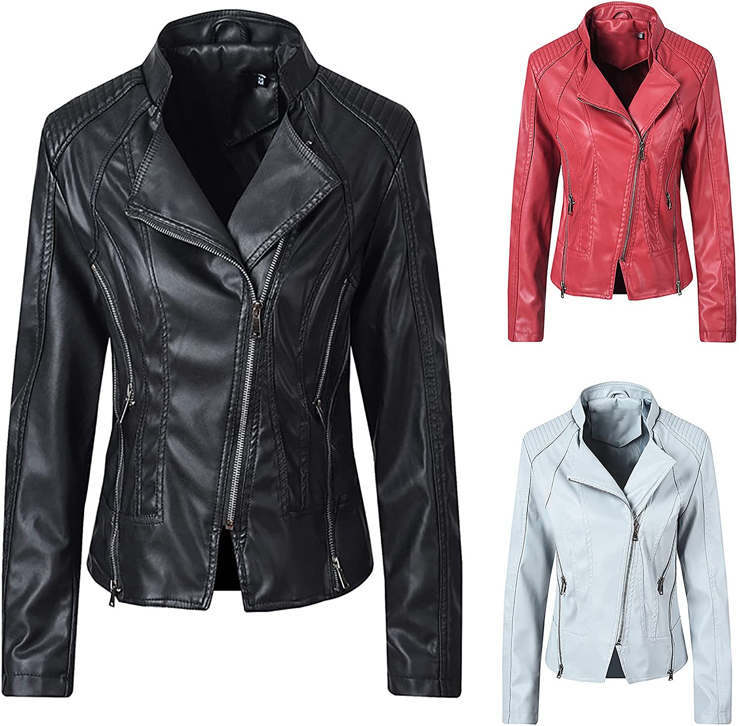 Now free shipping Faux Leather Short Jacket Women Quilted Fit Casual Max 79% OFF Slim Fashion