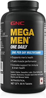 GNC Mega Men One Daily Multivitamin for Men, 60 Count, Take One A Day for 19 Vitamins and Minerals, Supports Muscle Perfor...