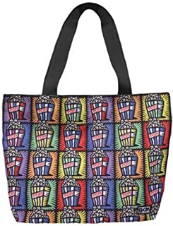 Multi-Popcorn Movie Theater Images Tote Bag Carrier with Black Handles