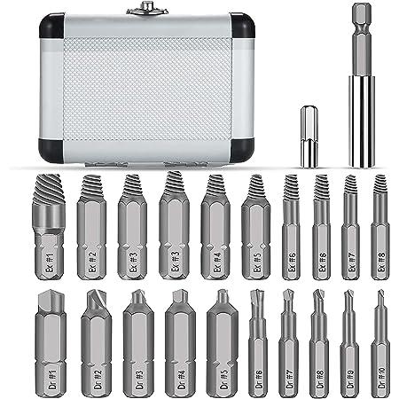 Farbe : Gold MJS 5PCS Screw Extractor Kit Doppelkopf abgebrochener Bolzen Remover-Reparatur-Werkzeug Titan-/überzogene 4341 Schraubenausdreher Set Werkzeuge
