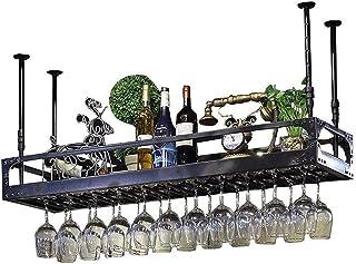 Organisation de Rangement de Cuisine Porte-Bouteille de vin en métal Étagère de Rangement en Fer Plafond Murale Suspendue ...