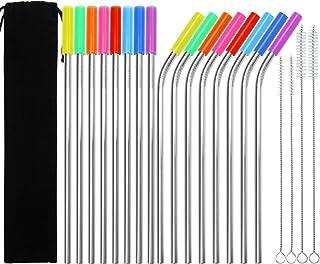 Keriber - Pajitas reutilizables de acero inoxidable (16 unidades, 21,59 cm, con 4 cepillos de limpieza, 16 unidades), multicolor 8.5 inchs
