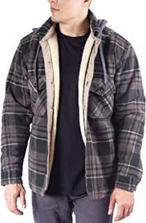 Mens Sherpa Bonded Plaid Polar Jacket W/Hood Also Available in Big and Tall