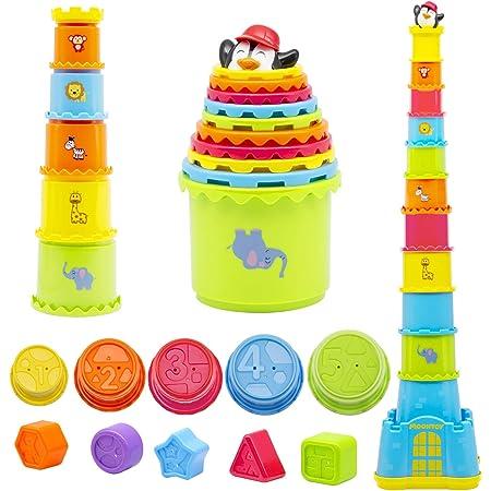 MOONTOY Cubos Apilables Bebés 12 Meses +,Juguete de Taza Apilable 19PCS,Montessori Juguetes para niños y niñas,Juguete de Playa y baño para bebés interior, exterior,Juguete Educativo Temprano 1-6 años
