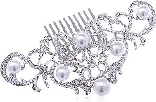 Alilang Silvery Tone Crystal Rhinestone Ornate Filigree Swirl Simulated Pearl Bridal Hair Comb