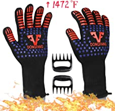 VF DONGFANG BBQ Gloves Extreme Heat Resistant 1472℉,Durable Food Grade Silicone Non-Slip Barbecue Grill Gloves,Fire&Cut Resistant Kitchen Oven Gloves-1 Pair Long Cuff-13.8 inch with Meat Claws