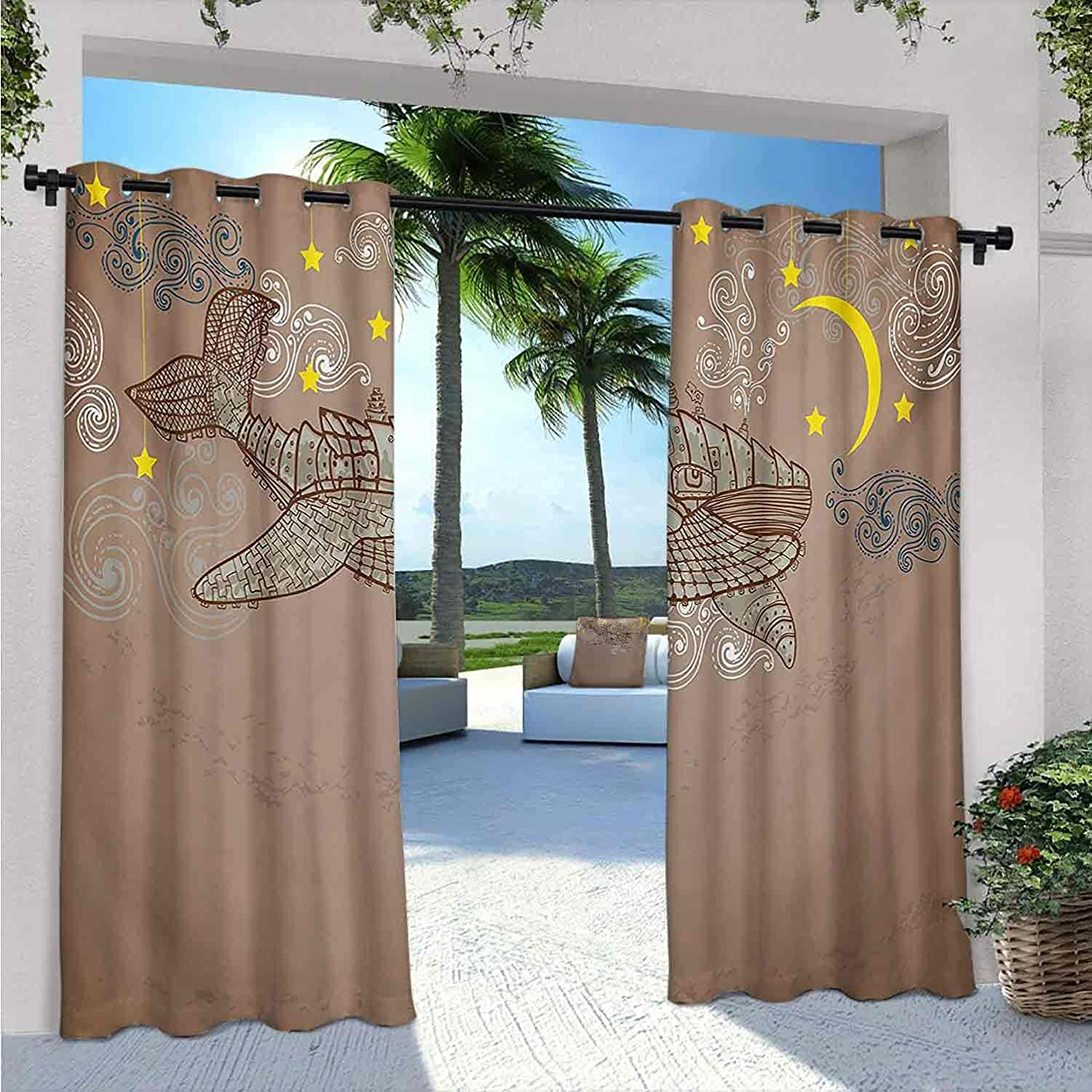Whale Outdoor Curtains for Waterproof Patio Steampunk in In stock Year-end gift