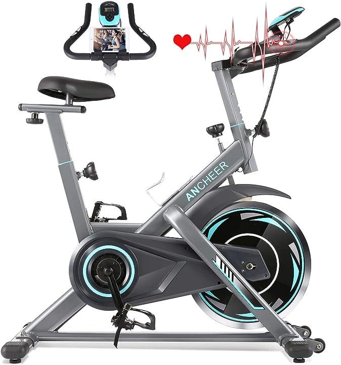 ANCHEER, cyclette, Bici da Spinning, Sensore di Impulsi, Manubrio e Sella Regolabili B08GYGCSYL