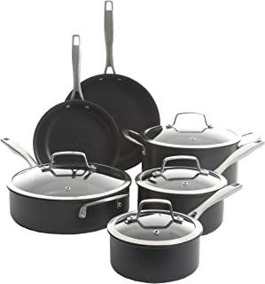 Kenmore Arbor Heights Pro 7-Layer Induction Nonstick Platinum Hard Anodized Aluminum Cookware Set, 10-Piece, Black