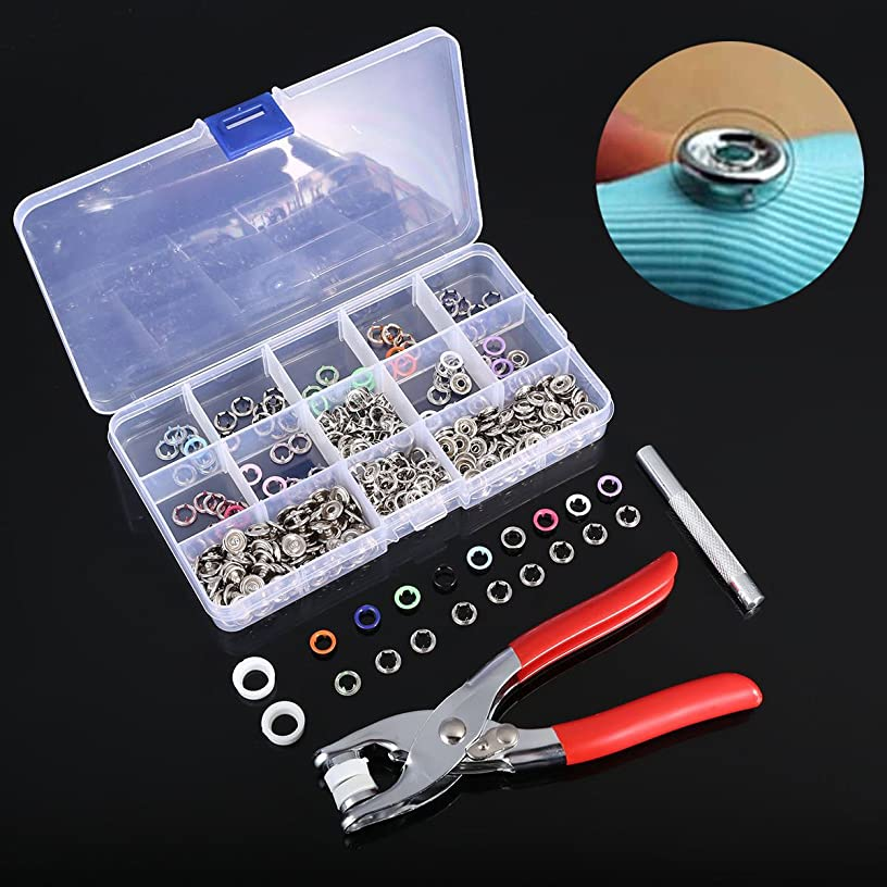 100 pcs 9.5mm 10 Colors Prong Ring Press Studs Snap Fasteners Dummy Clip Pliers