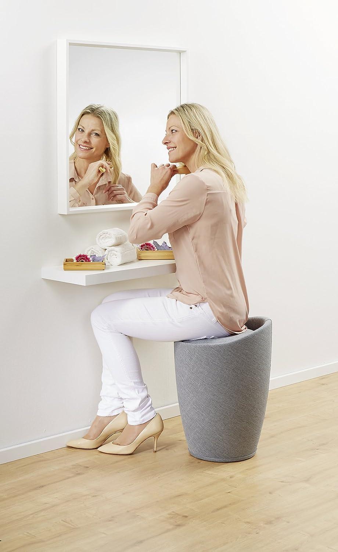 Wenko 22836100 Candy Tabouret de salle de bain Aspect Lin Gris Clair 36 x 36 x 50,5 cm Gris Clair