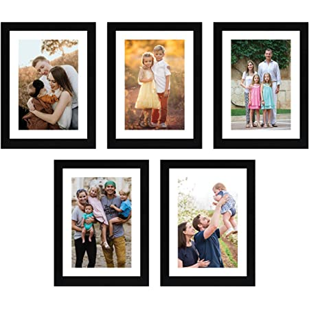 Amazon Brand - Solimo Set of 5 Photo Frames With Mount Paper (6 X 8 Inch - 5), Black