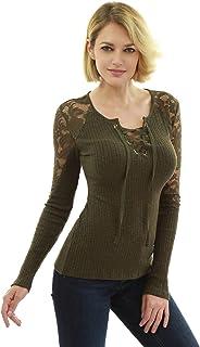 AmélieBoutik Women Floral Lace Inset Lace Up Ribbed Knit Top